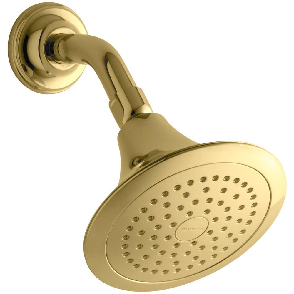 KOHLER Forte 1-Spray Single Function 5.5 in. Raincan Showerhead in Vibrant Polished Brass
