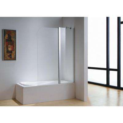 43 in. x 59 in. Frameless Pivot Tub Door in Chrome