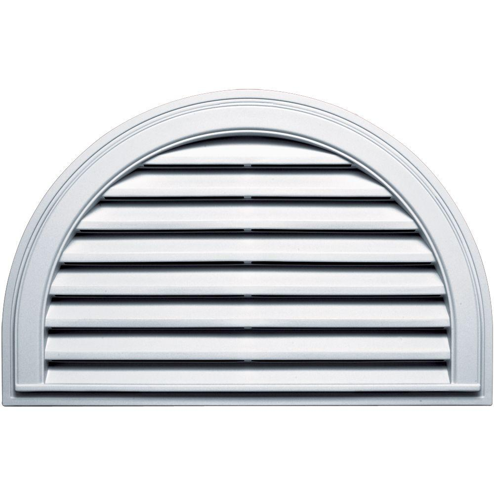 Builders Edge 22 in. x 34 in. Half Round Gable Vent in White