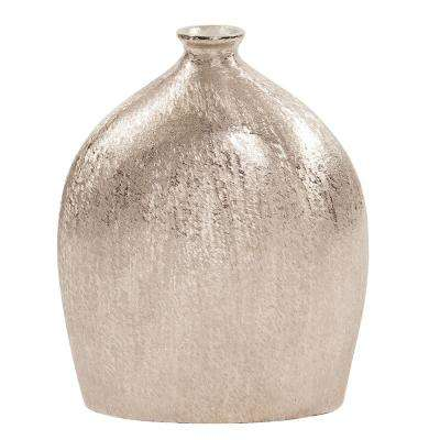 Bright Silver Textured Flask Decorative Vase