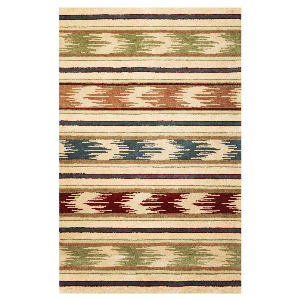 Kas Rugs Retro Stripe Beige/Multi 3 ft. 3 in. x 5 ft. 3 in. Area Rug