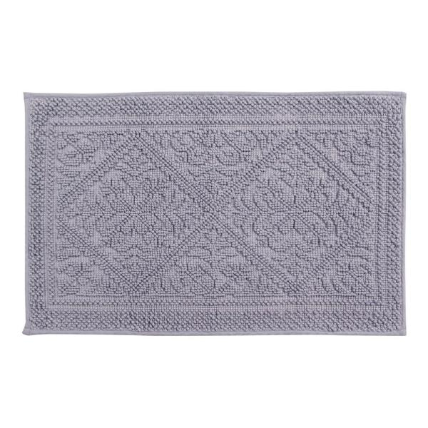 Jaquard Grey 17 in. x 24 in. and 21 in. x 34 in. Bath Rug Set (2-Piece)