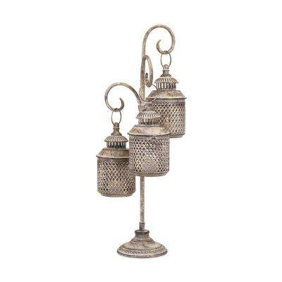 Nadine 11.25 in. Antiqued Gold Lantern