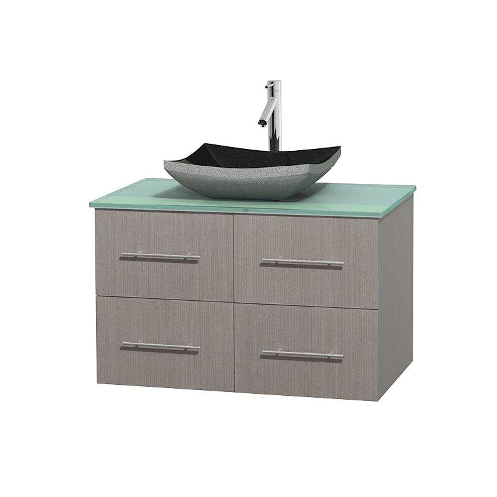 Centra 36 in. Vanity in Gray Oak with Glass Vanity Top in Green and Black Granite Sink