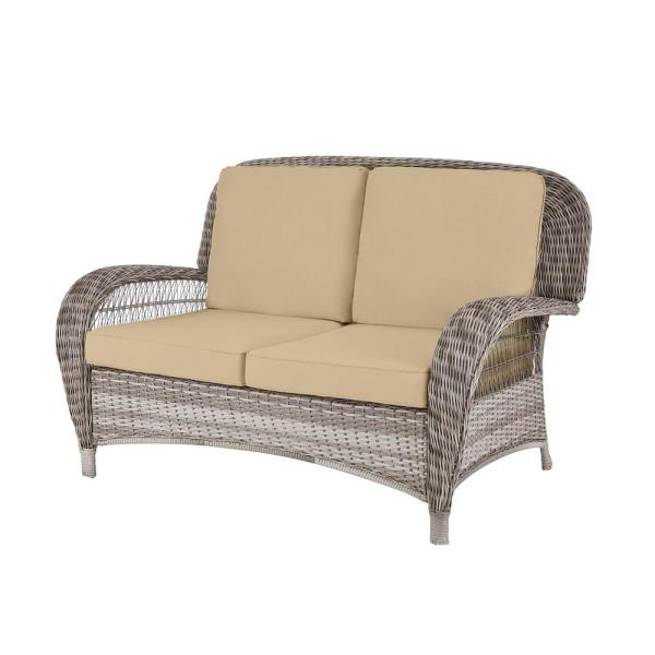 Beacon Park Gray Wicker Outdoor Patio Loveseat with Sunbrella Beige Tan Cushions