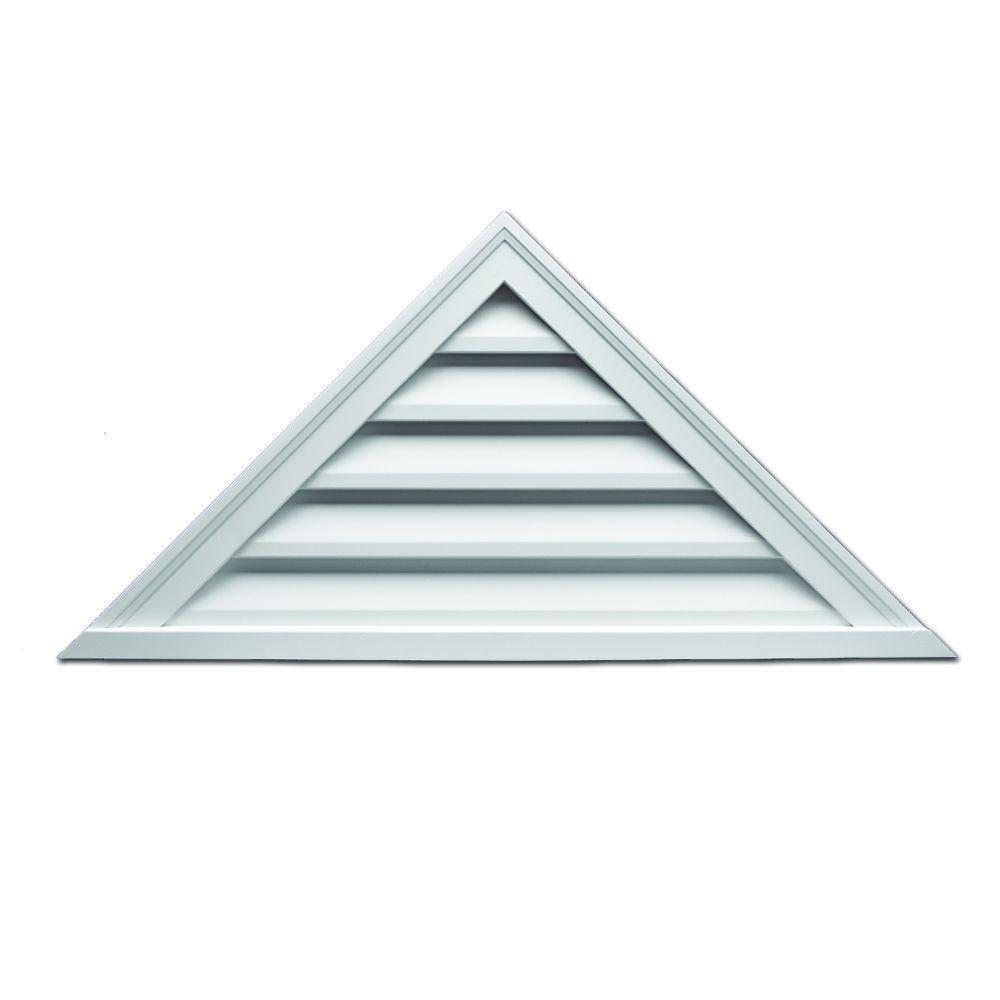 Fypon 60 in. x 17-1/2 in. x 2 in. Polyurethane Functional Triangle Louver Gable Vent