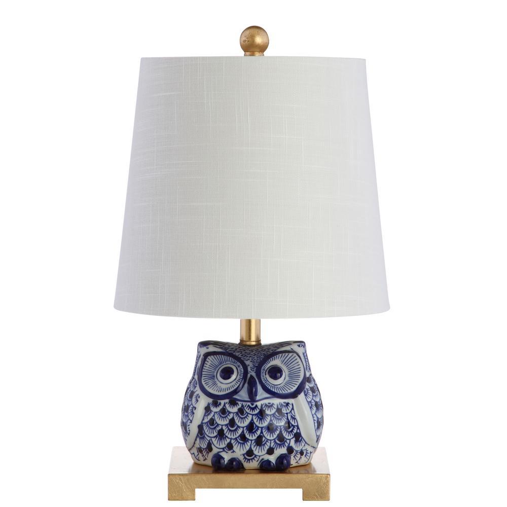 Justina 16 in. Blue/White Ceramic Mini Table Lamp