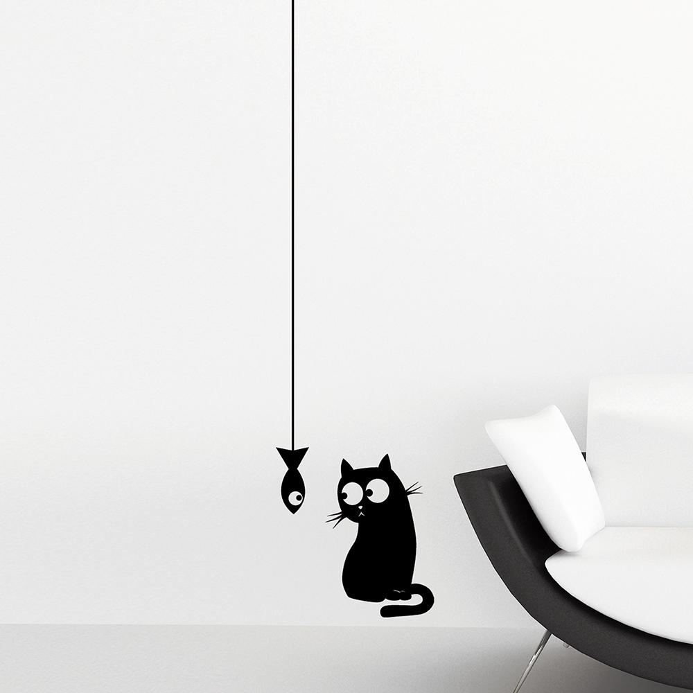 24.6 in. x 12 in. Black Cat and Fish Wall Decal Set