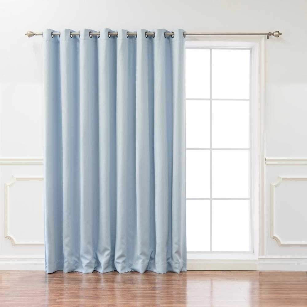 best home fashion wide basic 100 in w x 84 in l blackout curtain in sky blue grom wide 100x84. Black Bedroom Furniture Sets. Home Design Ideas