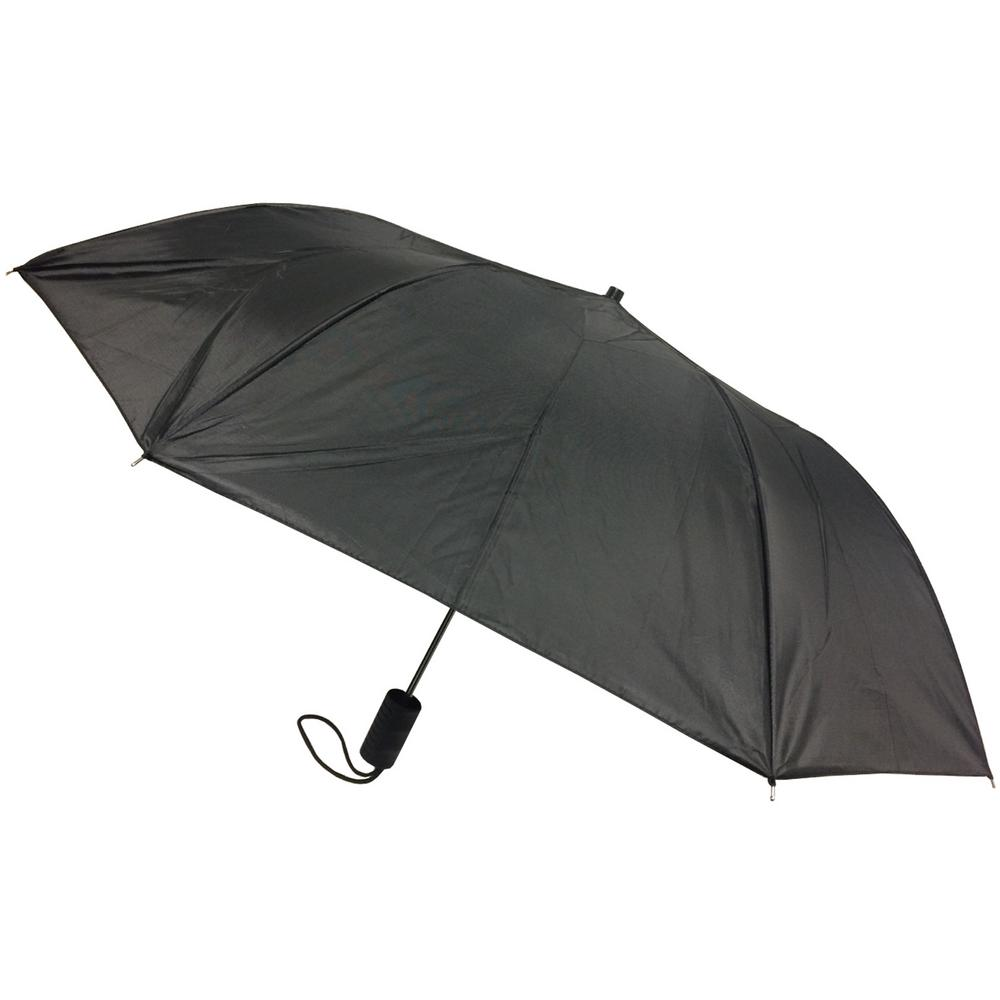 c772ee2eb6f74 42 in. Black Arc Full-Size Automatic Open Umbrella-208 - The Home Depot