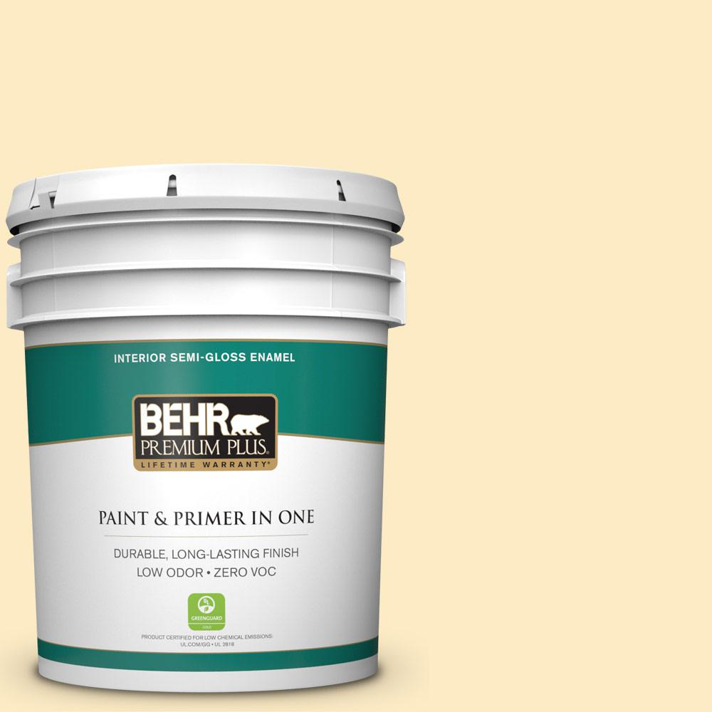 BEHR Premium Plus 5-gal. #P260-2 Yogurt Semi-Gloss Enamel Interior Paint