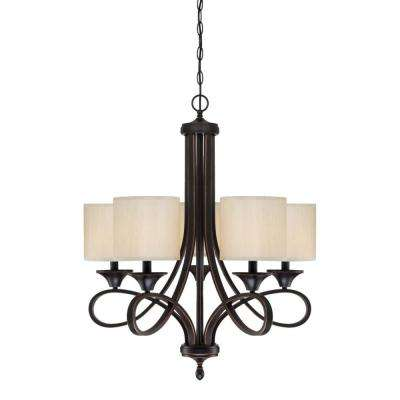 Lenola 5-Light Amber Bronze Chandelier with Beige Fabric Shades