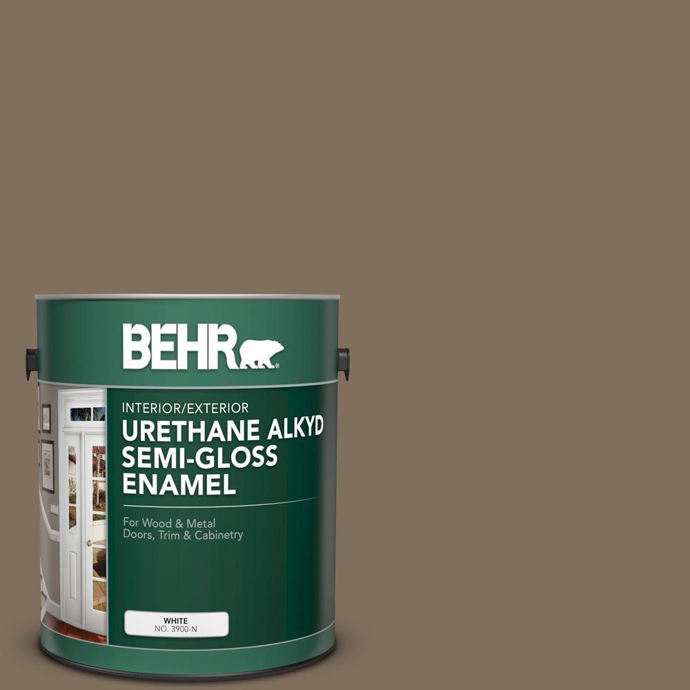 Behr 1 Gal Ppu5 04 Mocha Latte Urethane Alkyd Semi Gloss Enamel Interior Exterior Paint 393001 The Home Depot