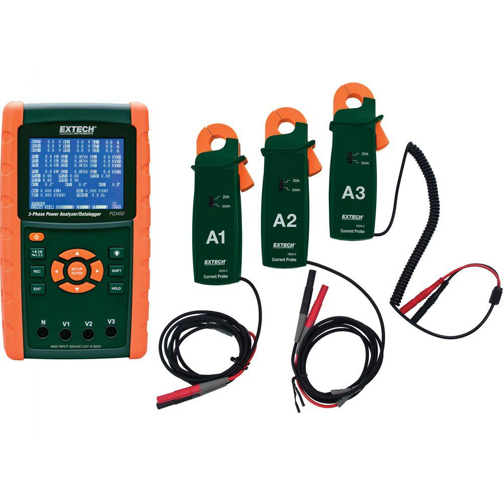 Extech Instruments 200A 3-Phase Power Analyzer and Data Logger Kit ...