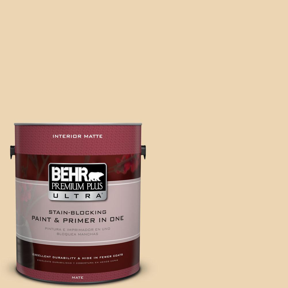 BEHR Premium Plus Ultra 1 gal. #340E-3 Bavarian Cream Flat/Matte Interior Paint