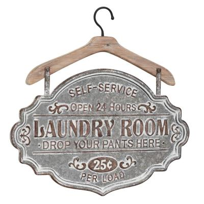 Farmhouse Whitewashed Wood and Silver Metal Laundry Room Decorative Sign