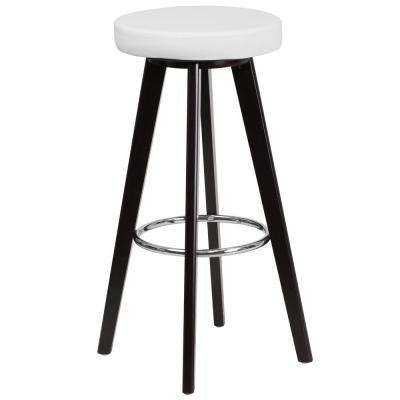 29 in. High Contemporary Cappuccino Wood Barstool with White Vinyl Seat