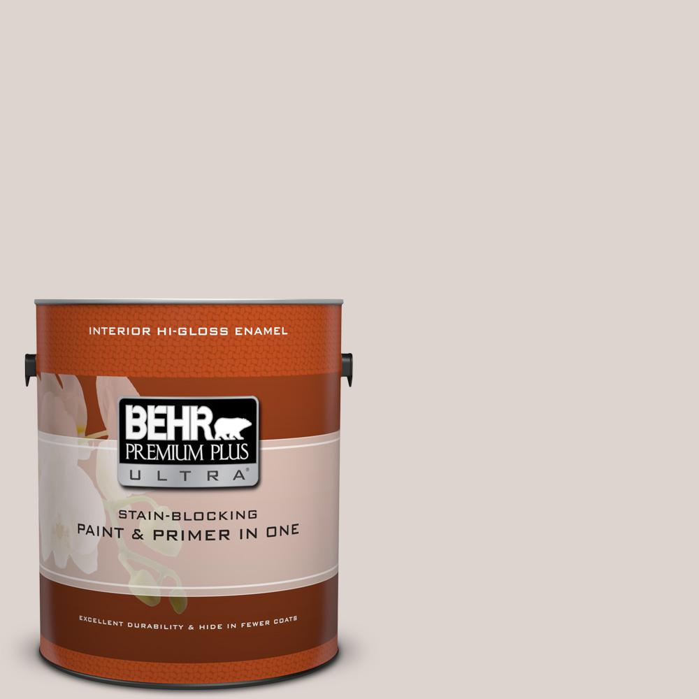 1 gal. #750A-2 Feather Gray Hi-Gloss Enamel Interior Paint and Primer
