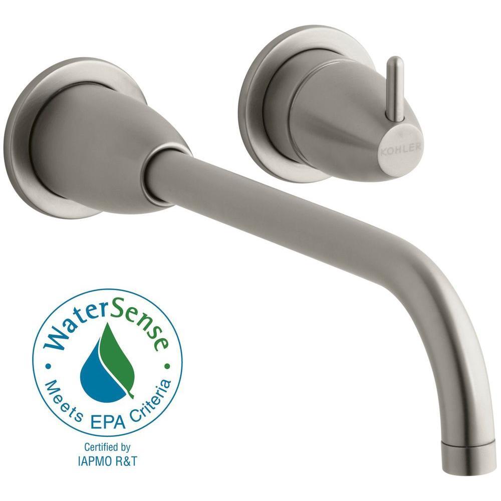 KOHLER Falling Water Wall Mount Single Handle Bathroom Faucet Trim Kit in Vibrant Brushed Nickel (Valve Not Included)