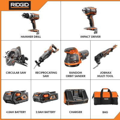 18-Volt Lithium-Ion Cordless 6-Piece Combo Kit with One 4.0 Ah Battery and One 2.0 Ah Battery, Charger, and Bag