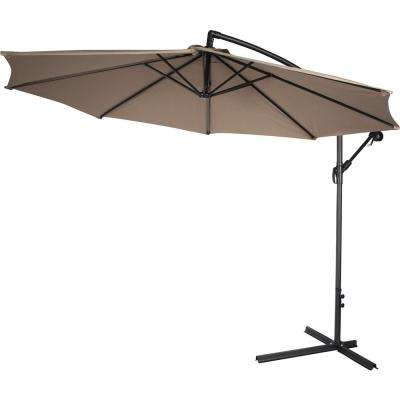 10 ft. Deluxe Cantilever Polyester Offset Patio Umbrella in Tan
