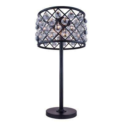 Madison 32 in. Mocha Brown Table Lamp with Clear Crystal
