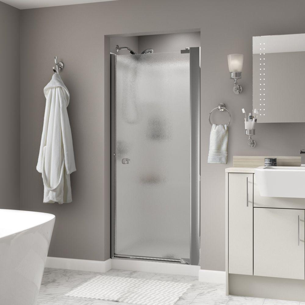 Mandara 36 in. x 64-3/4 in. Semi-Frameless Contemporary Pivot Shower Door