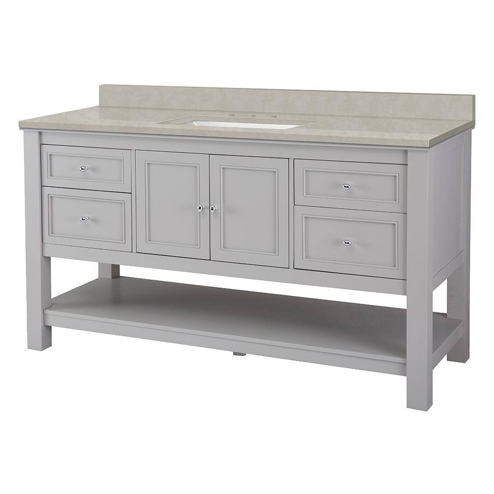 Home Decorators Collection Gazette 61 in. W x 22 in. D Vanity Cabinet in Grey with Engineered Marble Vanity Top in Dunescape with White Sink