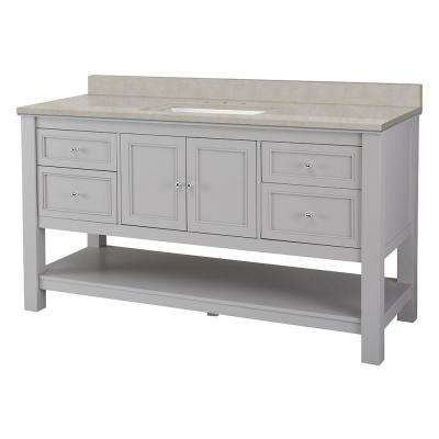 Gazette 61 in. W x 22 in. D Vanity Cabinet in Grey with Engineered Marble Vanity Top in Dunescape with White Sink