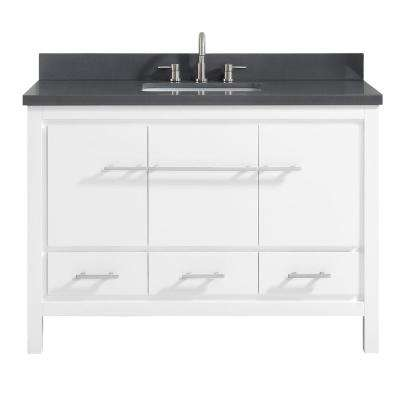 Riley 49 in. W x 22 in. D x 34.8 in. H Bath Vanity in White with Quartz Vanity Top in Gray with Basin