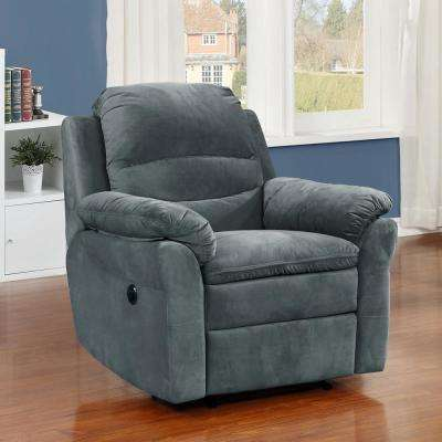 Felix Collection Dark Grey Contemporary Style Fabric Upholstered Living Room Electric Recliner Power Chair