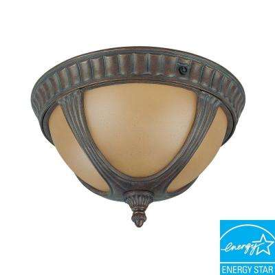 1-Light Outdoor Fruitwood Flushmount