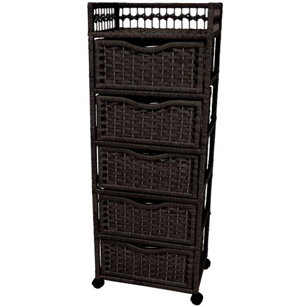 Oriental Furniture 5-Drawer Black Wheeled Natural Fiber Storage Chest JH09-069-5-BLK