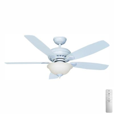 Southwind 52 in. LED Indoor Matte White Smart Ceiling Fan with Light Kit, Remote Control and WINK Remote Control