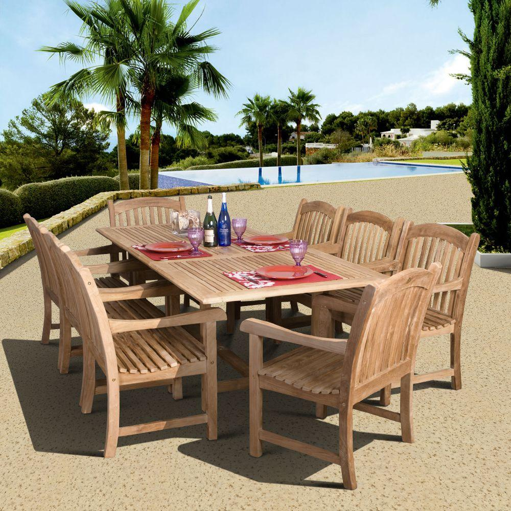 Amazonia Newcastle Piece Teak Patio Dining SetSC DianRect - Teak patio table with leaf