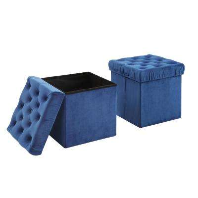 Toby Blue Foldable Storage Ottoman Cube Foot Rest (2-Pack)