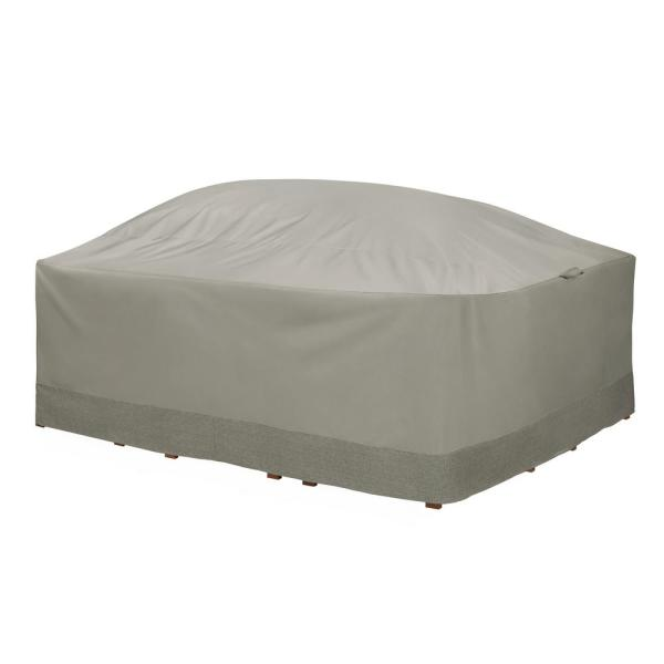Weekend 107 in. Outdoor Rectangular/Oval Table and Chair Cover with Integrated Duck Dome in Moon Rock
