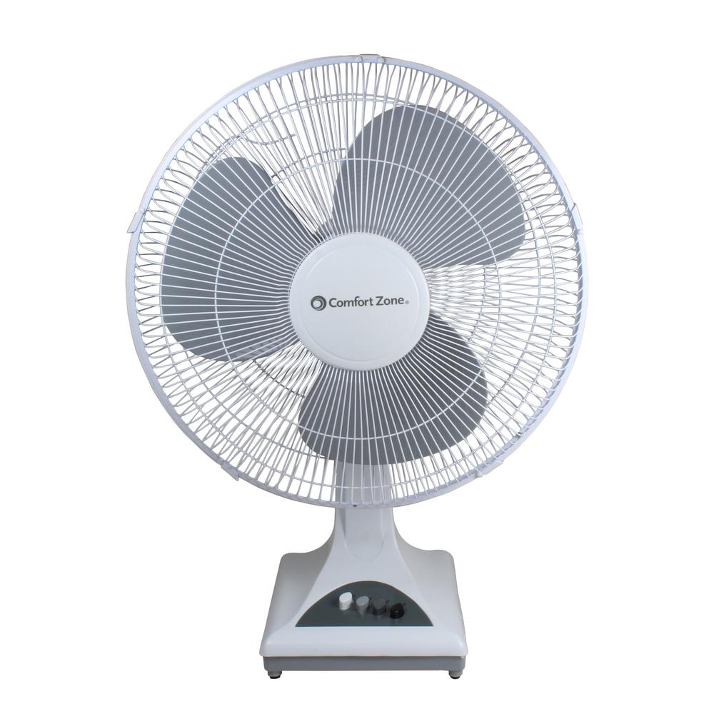 Comfort Zone 16 In White Oscillating Table Fan With