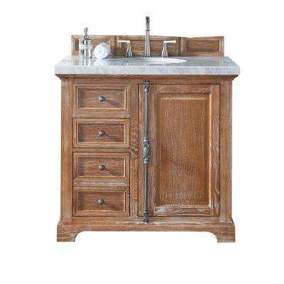 Providence 36 in. W Single Vanity in Driftwood with Marble Vanity Top in Carrara White with White Basin