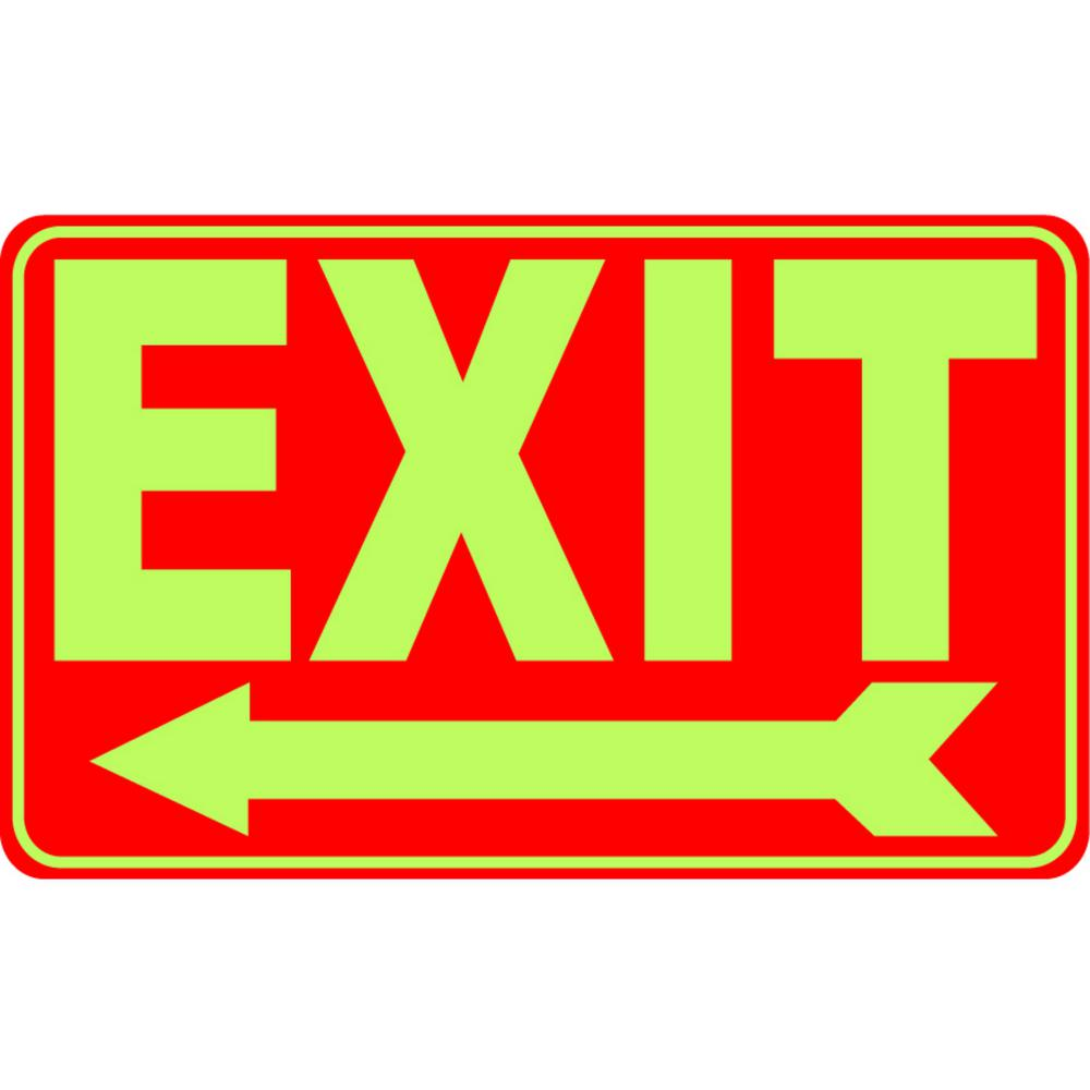 12 in. x 8 in. Rectangular Plastic Glow-in-the-Dark Exit Left Sign