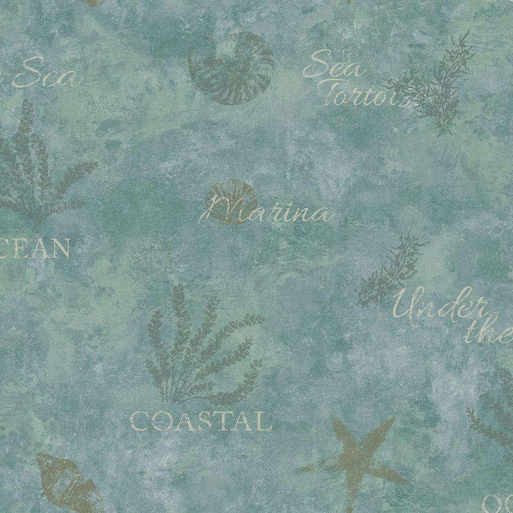Marina Teal Scenic Seaside Wallpaper