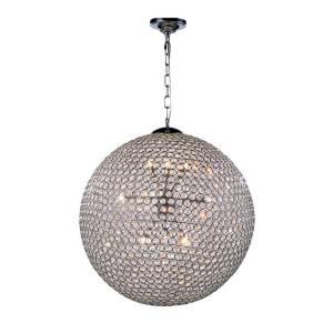 Timeless Home 24 in. L x 24 in. W x 24 in. H 12-Light Chrome with Clear Crystal Contemporary Pendant