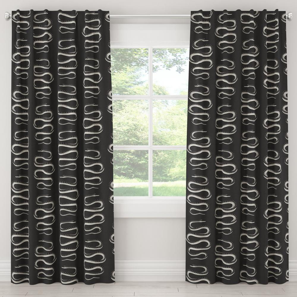 Skyline Furniture 50 in. W x 96 in. L Blackout Curtain in Snake Climb Ink