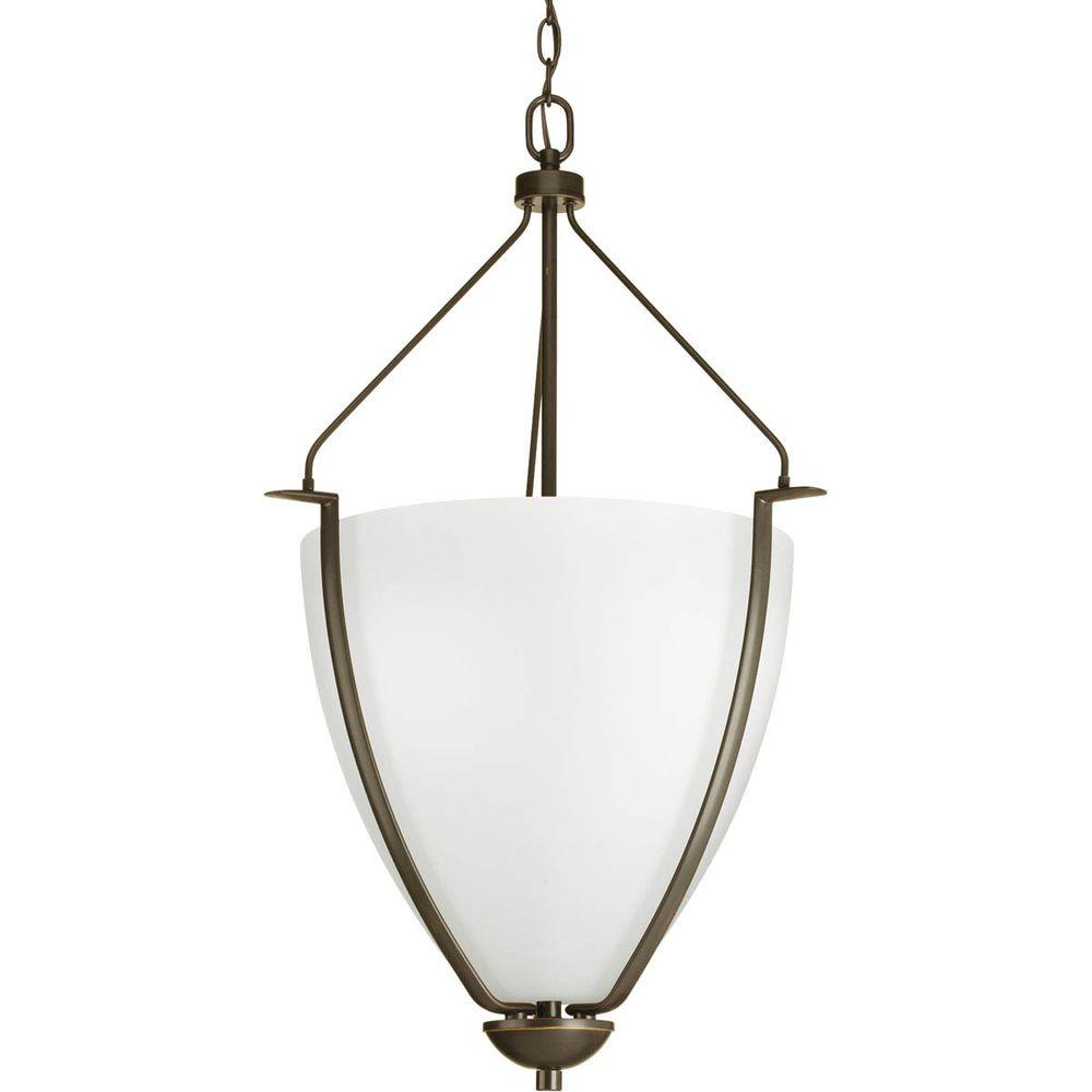 Bravo Collection 1-Light Antique Bronze Foyer Pendant with White Etched Glass