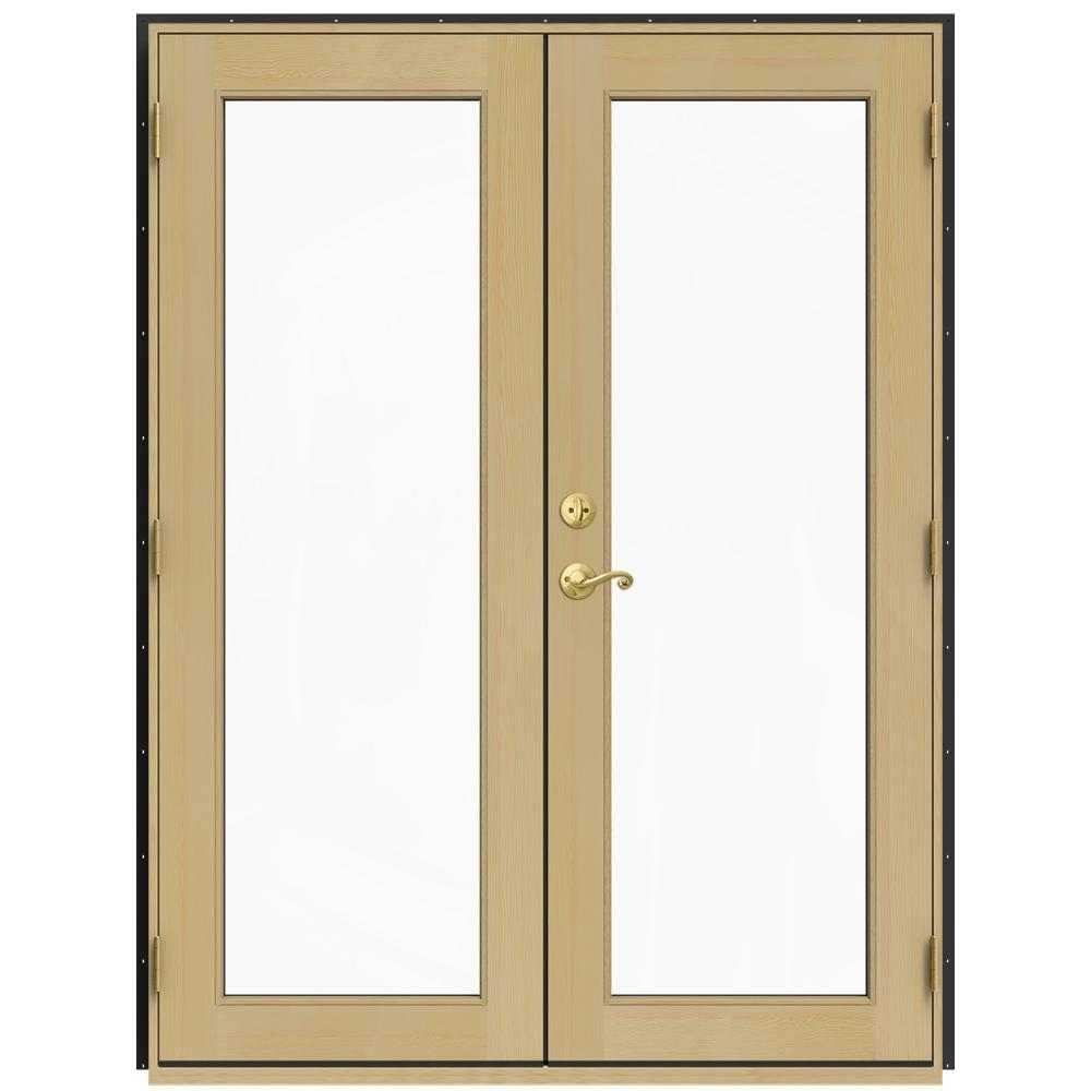 Jeld wen 60 in x 80 in w 2500 bronze clad wood left hand for Wood patio doors home depot