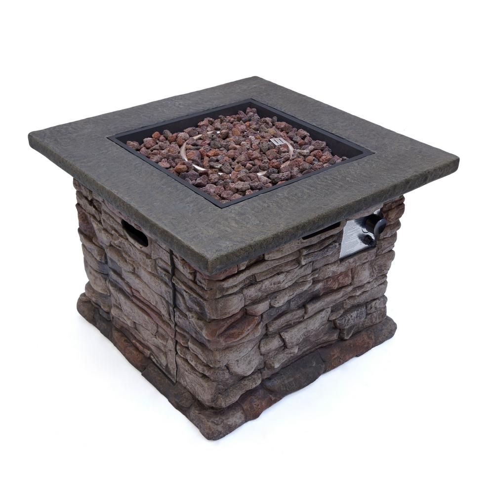 Noble House Dakota 32 in. x 24 in. Square MGO Propane Fire Pit in Natural Stone
