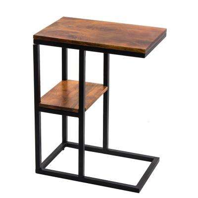 Brown Iron Framed Mango Wood Accent Table with Lower Shelf