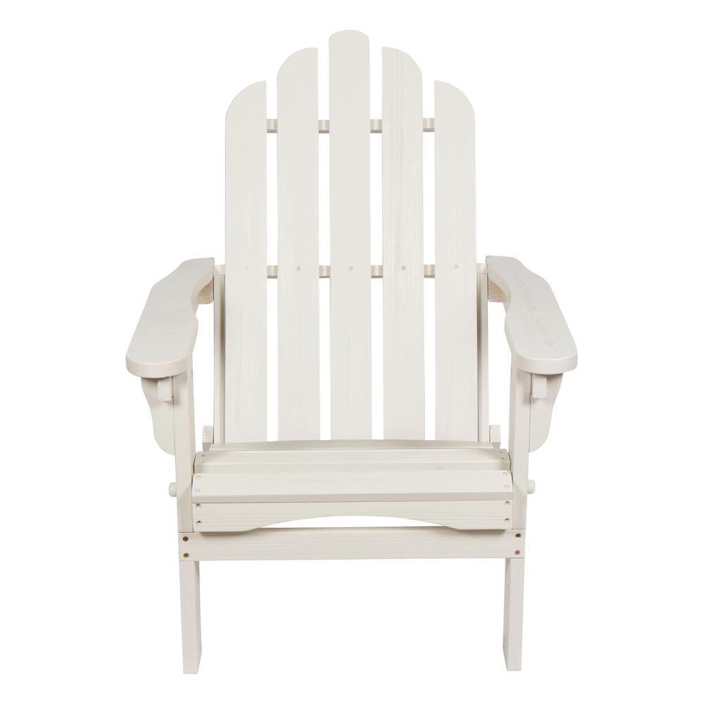 Marina II 37 in. Tall Eggshell White Adirondack Folding Chair with Wood HYDRO-TEX Finish