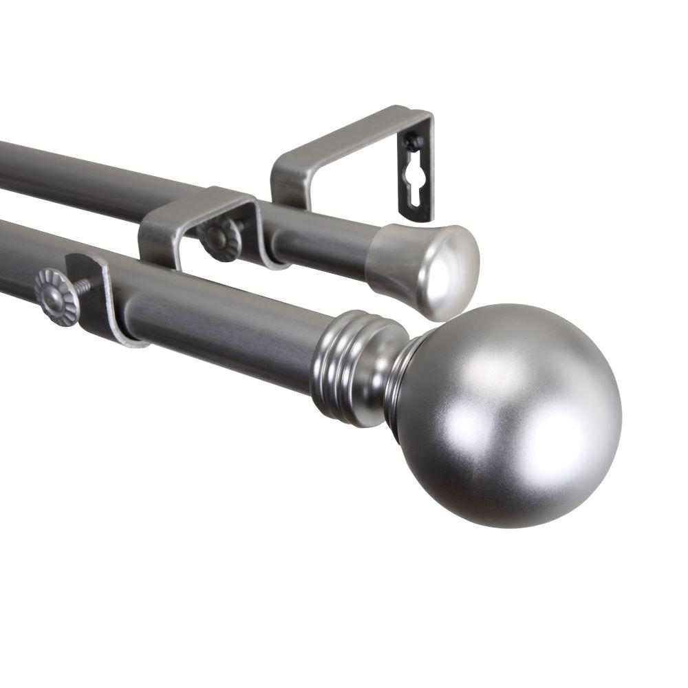 28 in. - 48 in. 1 in. Globe Double Curtain Rod
