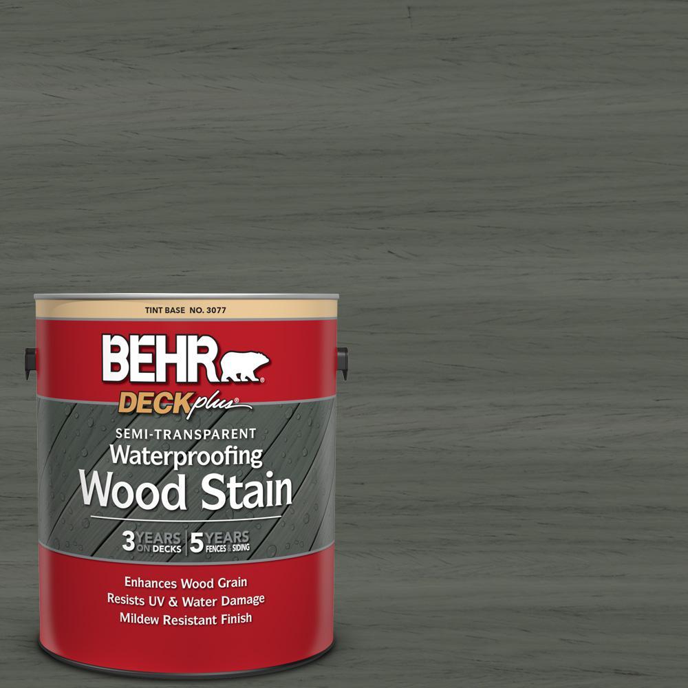 BEHR DECKplus 1 gal. #ST-131 Pewter Semi-Transparent Waterproofing Exterior Wood Stain
